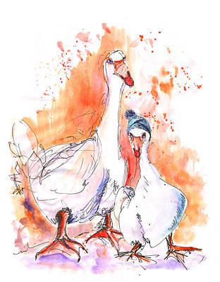 Geese Drawing - Geese In Spanish Winter by Miki De Goodaboom