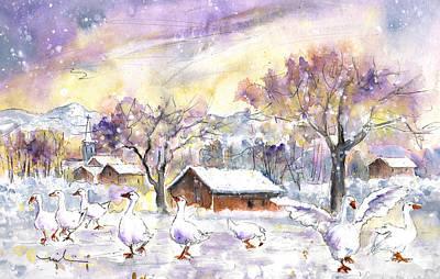 Geese In Winter In Germany Print by Miki De Goodaboom