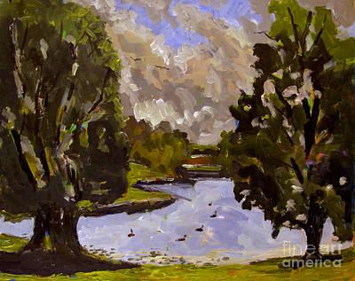 Geese On Raders Pond Print by Charlie Spear