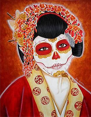 Painted Face Painting - Geisha De Los Muertos by Al  Molina