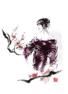 Japanese Cherry Blossoms Painting - Geisha Geiko Maiko Young Girl Kimono Japanese Japan Woman Sumi-e Original Painting Cherry Blossom Sa by Mariusz Szmerdt