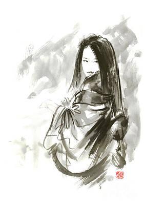 Kyoto Painting - Geisha Japanese Woman Beauty Maiko Geiko Portrait Beautiful Face Kimono Original Japan Painting Art by Mariusz Szmerdt