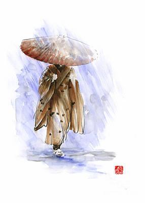 Kyoto Painting - Geisha Japanese Woman Custom Handmade Paper Umbrella Rain Japan Japanese Painting Art  by Mariusz Szmerdt