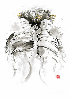 Kyoto Painting - Geisha Japanese Women Woman In Kimono Traditional Original Japan Painting Art Hair Pin Style Design  by Mariusz Szmerdt