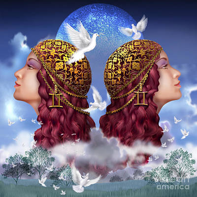 Astrological Digital Art - Gemini by Ciro Marchetti