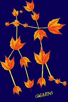 Constellation Digital Art - Gemini Constellation Composed By Maple Leaves by Paul Ge