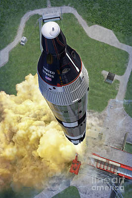 Gemini Titan Launch Print by Stu Shepherd