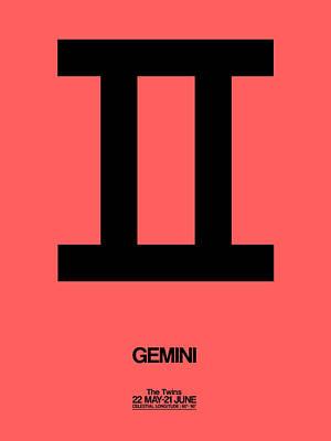 Virgo Digital Art - Gemini Zodiac Sign Black by Naxart Studio