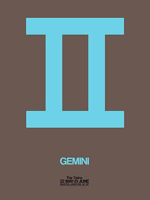 Leo Digital Art - Gemini Zodiac Sign Blue by Naxart Studio