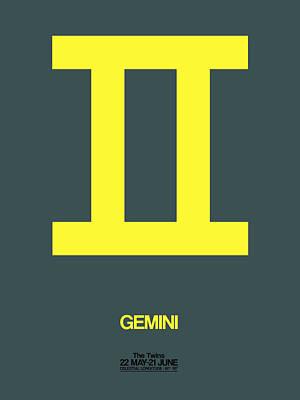 Leo Digital Art - Gemini Zodiac Sign Yellow by Naxart Studio