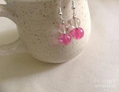 Dangle Earrings Glass Art - Gemstone Earrings  by Reina Resto