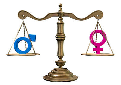 Gender Equality Balancing Scale Print by Allan Swart