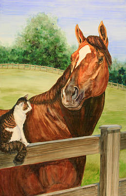 General Charlie And Whirlaway The Cat Portrait Print by Kristine Plum