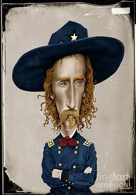 Digital Drawing Drawing - General George Custer by Andre Koekemoer