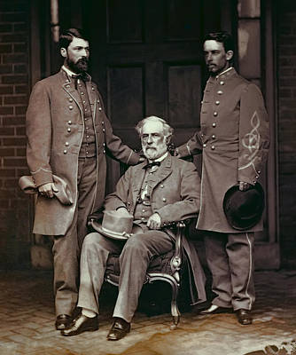 The General Lee Photograph - General Robert E. Lee And Staff  1865 by Daniel Hagerman