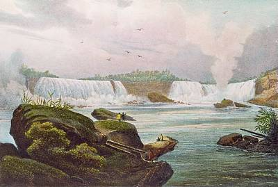Canadian Landscape Photograph - General View Of Niagara Falls From The Canadian Side Coloured Engraving by Jacques Milbert