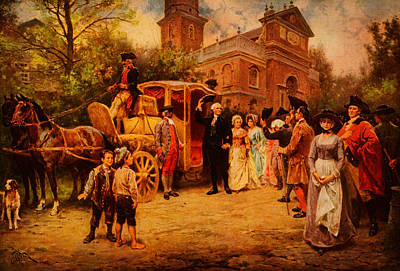 Horse Drawn Carriage Painting - General Washington At Christ Church by Celestial Images