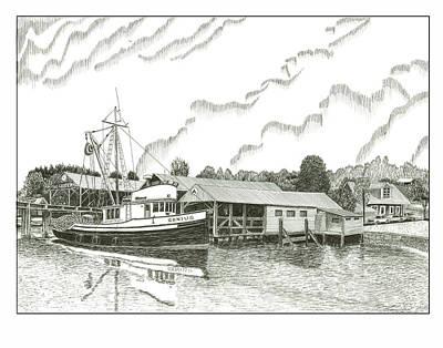 Salmon Drawing - Genius Ready To Fish Gig Harbor by Jack Pumphrey