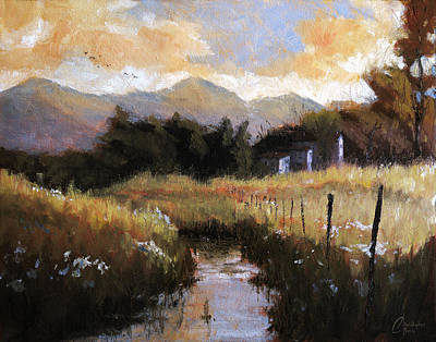 Tuscan Sunset Painting - Genova Italy Montoggio Countryside by Christopher Clark