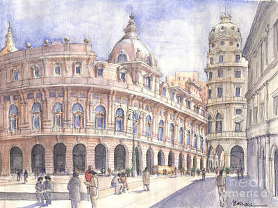 Piazza Drawing - Genova Piazza De Ferrari by Luca Massone