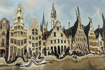 Buy Digital Art - Gent Medieval Skyline - Modern Art Painting by Art America Online Gallery