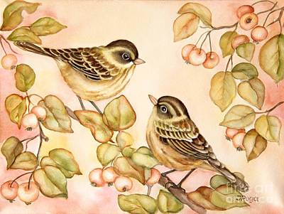 Warbler Painting - Gentle Couple by Inese Poga