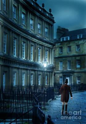 Gentleman Walking At Night Print by Jill Battaglia