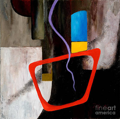 Red Cube Painting - Geo Tres by Larry Martin