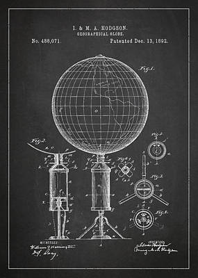 Earth Digital Art - Geographical Globe Patent Drawing From 1892 by Aged Pixel