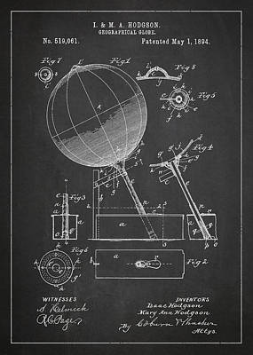 Earth Digital Art - Geographical Globe Patent Drawing From 1894 by Aged Pixel