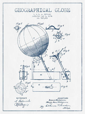 Global Digital Art - Geographical Globe Patent Drawing From 1894- Blue Ink by Aged Pixel