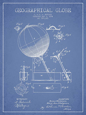 Earth Digital Art - Geographical Globe Patent Drawing From 1894 - Light Blue by Aged Pixel