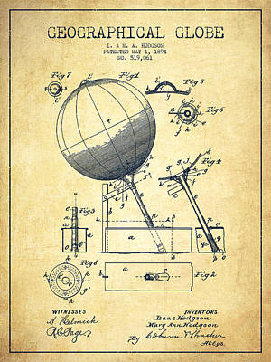 Earth Digital Art - Geographical Globe Patent Drawing From 1894 - Vintage by Aged Pixel