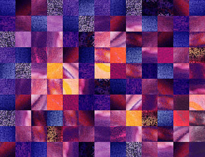 Wall Quilts Painting - Geometric Abstract Design Purple Meadow by Irina Sztukowski