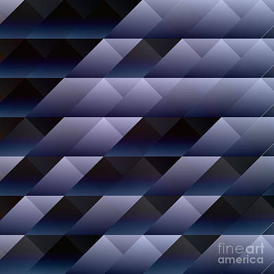 Geometric Blue Gray Print by Gaspar Avila