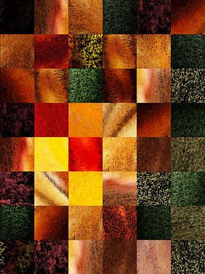 Digital Painting - Geometric Design Squares Pattern Abstract II by Irina Sztukowski