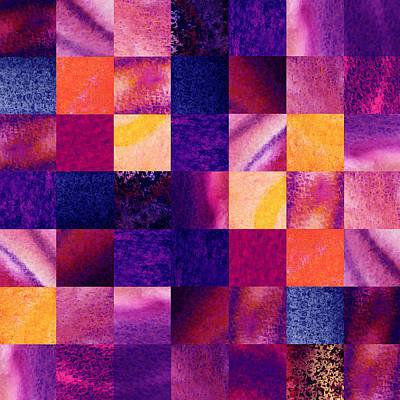 Digital Painting - Geometric Design Squares Pattern Abstract Iv by Irina Sztukowski