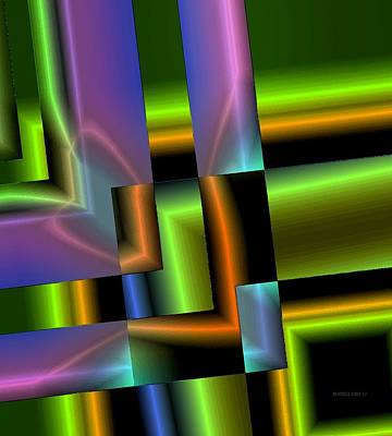 Forms Digital Art - Geometric Electric Effect by Mario Perez