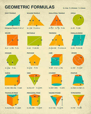 Math Digital Art - Geometric Formulas by Jazzberry Blue