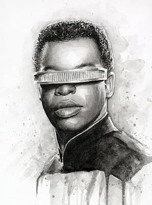 Stars Painting - Geordi La Forge - Star Trek Art by Olga Shvartsur