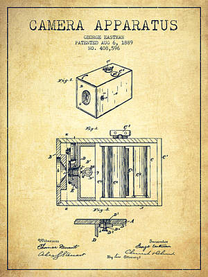 Camera Digital Art - George Eastman Camera Apparatus Patent From 1889 - Vintage by Aged Pixel