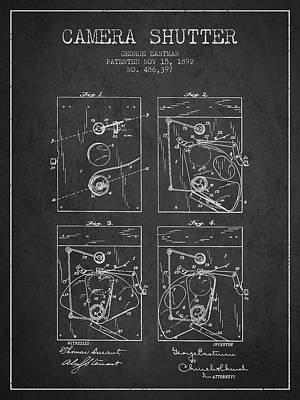 Film Camera Digital Art - George Eastman Camera Shutter Patent From 1892 - Dark by Aged Pixel