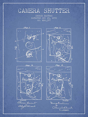 Film Camera Digital Art - George Eastman Camera Shutter Patent From 1892 - Light Blue by Aged Pixel