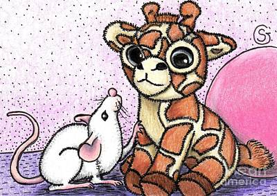 Lavender Drawing - George G. Mouse And The Toy Giraffe -- Why Won't He Play With Me? by Sherry Goeben