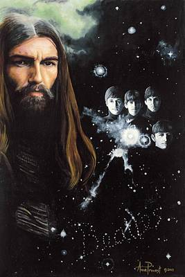 George Harrison And The Beatles Print by Anne Provost