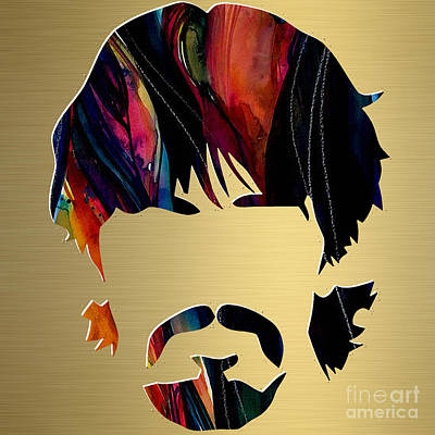 Beatles Mixed Media - George Harrison Gold Series. by Marvin Blaine