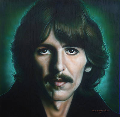Airbrush Painting - George Harrison by Tim  Scoggins