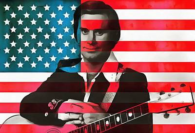 Lightning D Digital Art - George Jones American Country by Dan Sproul