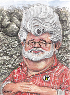 Caricature Painting - George Lucas by Mark Tavares
