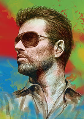 George Michael Stylised Pop Morden Art Drawing Sketch Portrait Print by Kim Wang